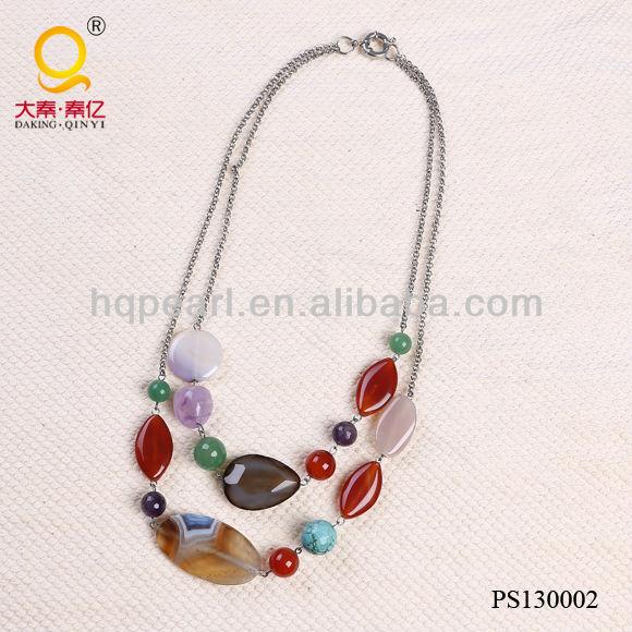 Simple design 2 rows costume necklace stone beads chain