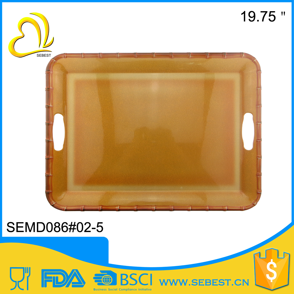 reliable factory wholesale imitation banboo rim large plastic food tray