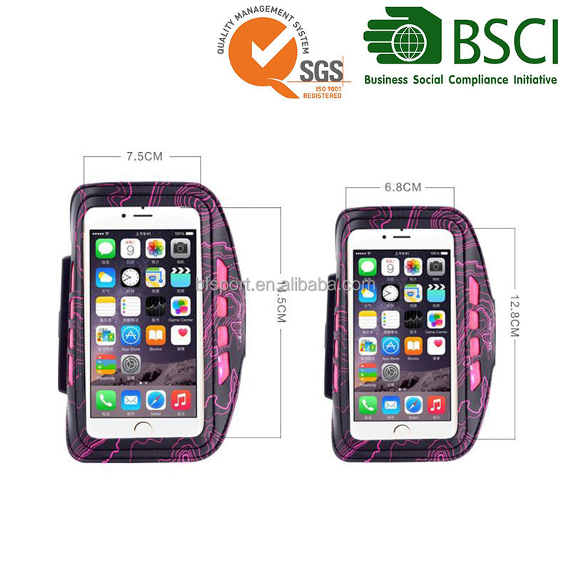 Rechargeable 4.7 and 5.5 inch reflective running phone sport led armband