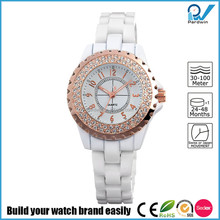 PVD Rosegold/Silver alloy case ceramic band quartz japan movment lady ceramic watch
