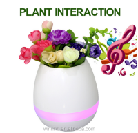 Nice lady gift Touching flower to sing led smart music flowerpot with Piano sound