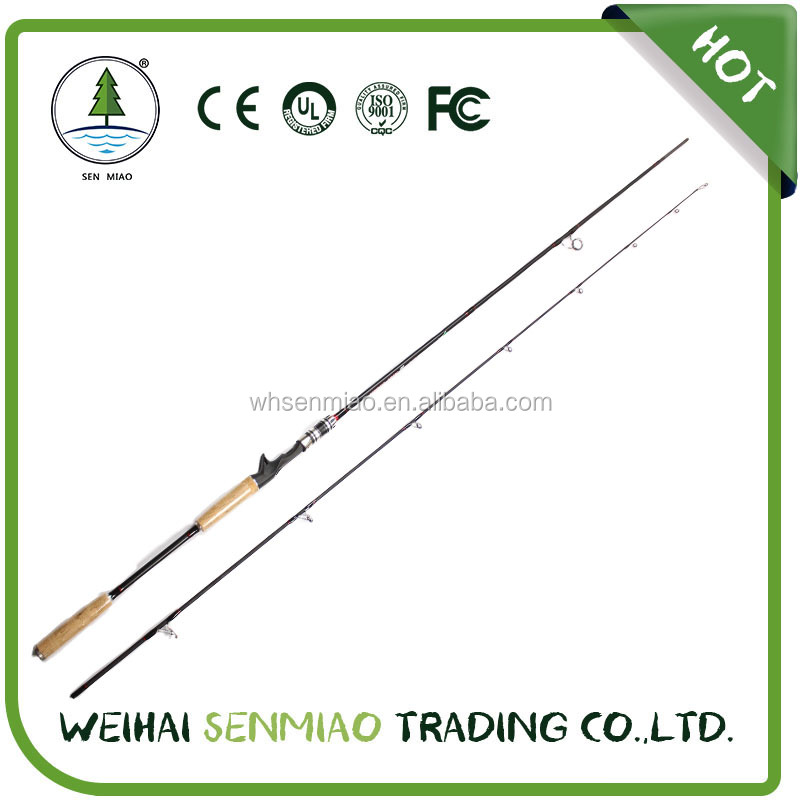 Casting Spinning Lure Carbon 2 Sections Fishing Rod Pole With FUJI Ring