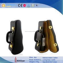 China Supplier Leather Violin Shaped Wine Accesories, Wine Carrier, Wine Box