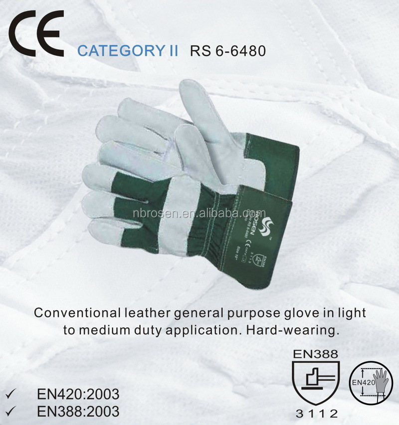 RS SAFETY Cow split leather working glove EN 388 and safety Hand gloves manufacturers in china