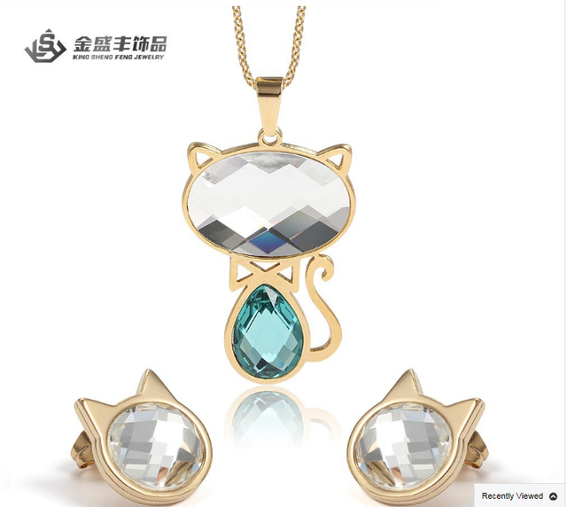 Hot wedding jewelry set cat design crystal jewelry 2015 China wholesale