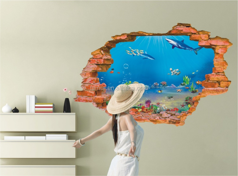 Removable home decoration Sea Fish Wall Stickers 3d window stickers