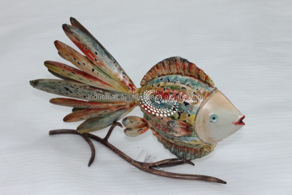 Colorful Metallic Small Fish With Big Tail Figurine
