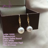 AAAA Quality 10-11mm Freshwater Cultured Pearl Dangle Earrings with 18K Gold Posts