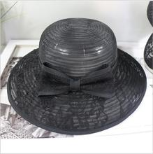 High quality wide brim black party hat,elegant ladies' church hat,wholesale full mesh hat