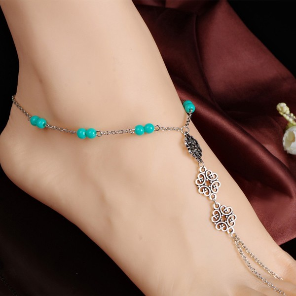 Summer Beach Blue Beads Charm and Hollow Flower Indian Silver Foot Chain Jewelry Anckle Bracelet