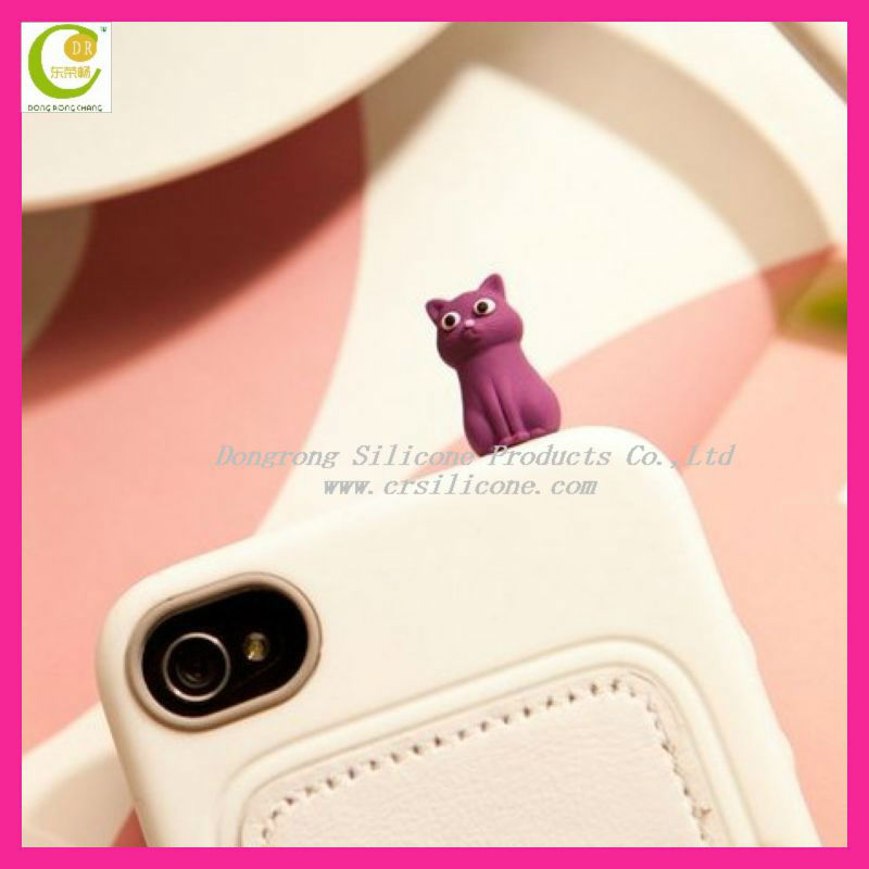 High quality customized 3d cartoon shape silicone earphon jack cat dust plug for mobile accessories