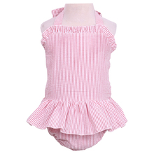 New design seersucker striped wholesale children's boutique cute clothing girls swimming suit