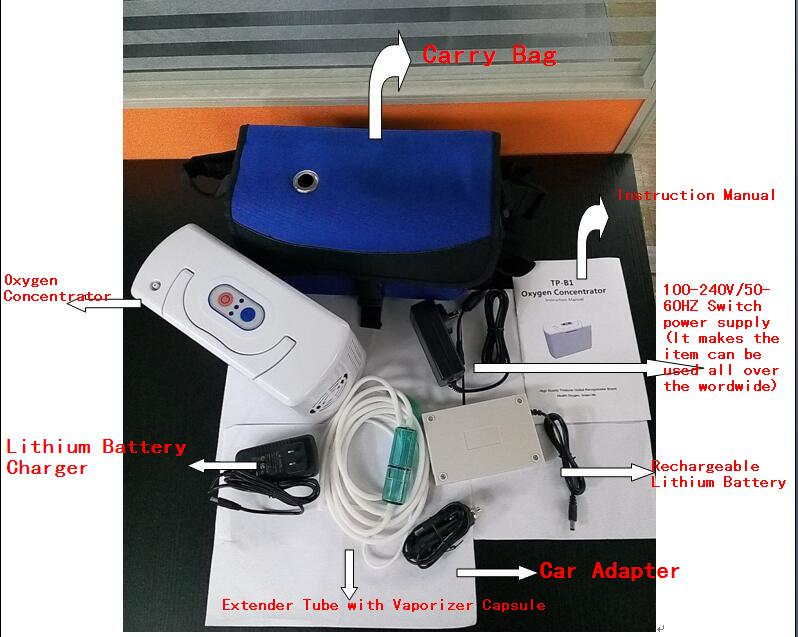 Mini Portable Home/Car/Travel Battery Oxygen Concentrator + Carry bag With TP-B1