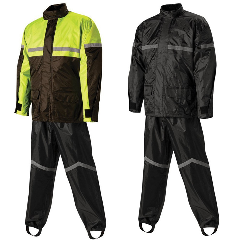 High visibility yellow motorcycle riding rain suit
