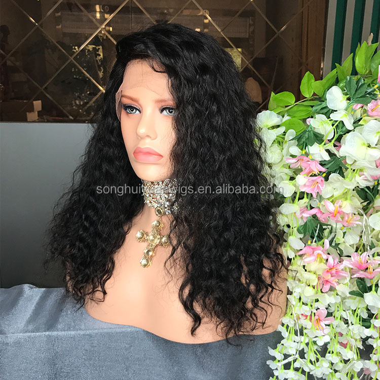 2017 new arrival brazilian virgin human hair full lace wig deep wave remy hair for black women
