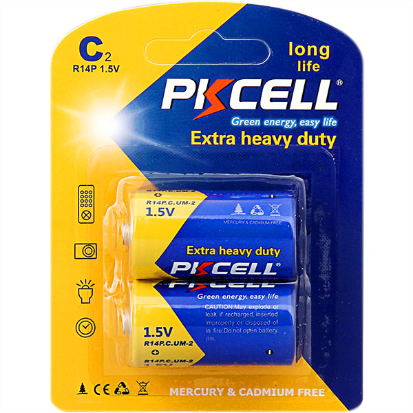 PKCELL C Size Zinc Carbon Battery 1.5v r14 um2 Cell Dry Battery for Flashlight,Toys