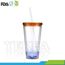 Light-Up LED Flashing 16oz light up bright tumbler with straw