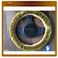 car interior decoration synthetic fur steering wheel covers