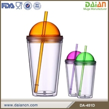 BPA Free Double Wall portable bulk plastic coffee mugs with lids & straws