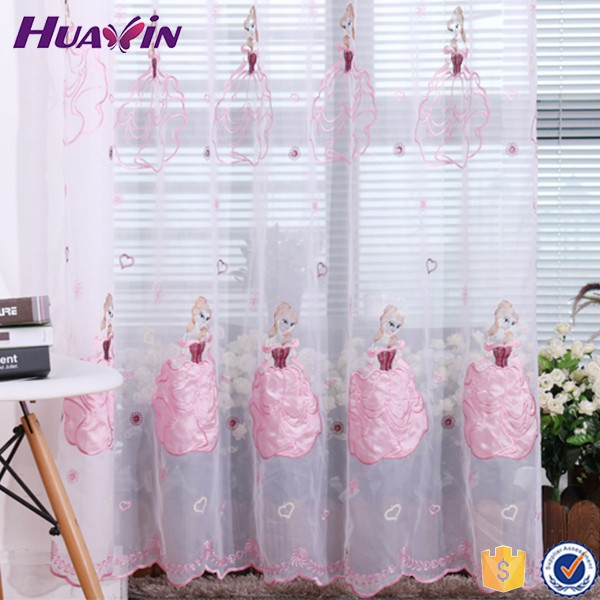 The Latest Sheer Organza Plain Embroidery Window Curtains Design for kid bedroom