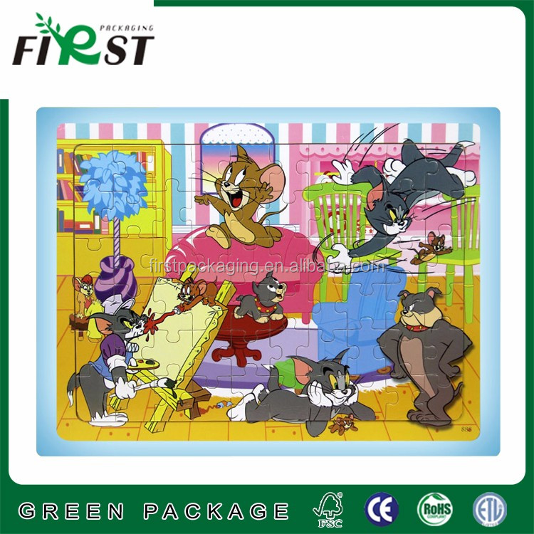 Classical Tom&Jerry carton jigsaw puzzle/custom printed paper cardboard jigsaw for children playing