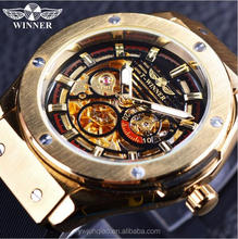 Winner 3 Dial Golden Metal Series Men's WatchTop Brand Luxury Automatic Watch Luxury Brand Mechanical Skeleton Male Wrist Watch