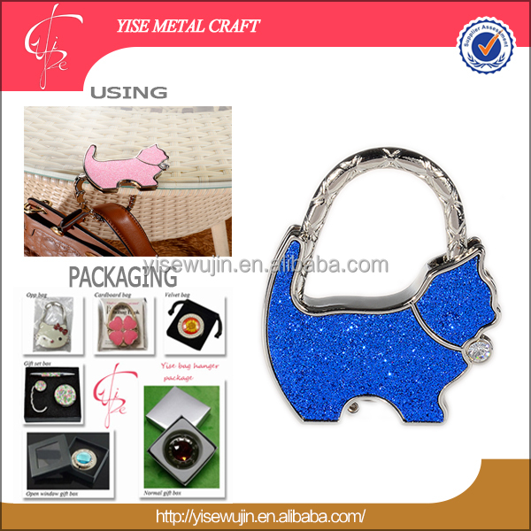 New Arrival sparkling Bell coffee cat Metal Purse Hanger handbag holder bag hook With Epoxy laser Printing Logo