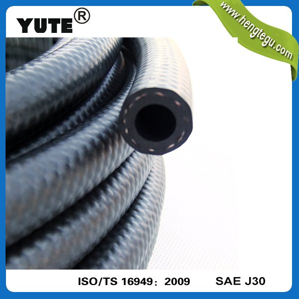 YUTE brand black flexible braided ts 16949 fkm fuel rubber hose