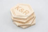 2017 Custom Monogram Coasters Laser Engraved Wood made in China