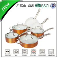 stainless steel handle gold outside color air core handle cookware