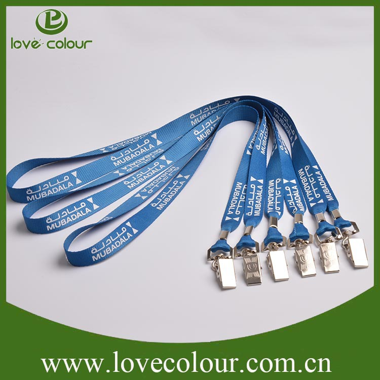 Best price excellent quality light blue polyester alligator clip lanyard