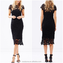 Women elegant cap sleeves lace dress fashion midi lace evening dress