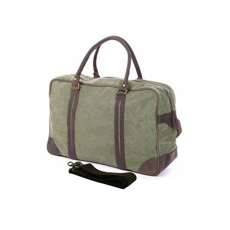 1DF0010 New Arrived Water Resistant Heavy Duty Travel Bag Canvas and Leather Weekend Outdoor Travel Duffle Bag
