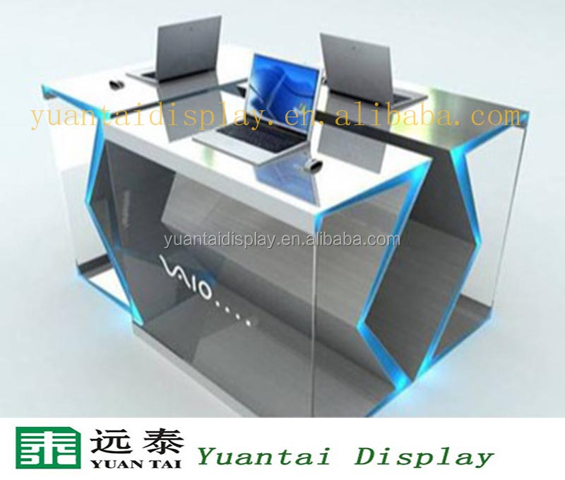 delicate computer table design for digital products display shop decoration design