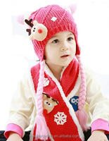 Children's Thick Velvet Woolly Hat and Scarf Super Warm Christmas Elk Horn Cap