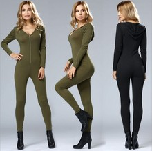 Amazon hot style European and American women's long sleeve hooded jumpsuit