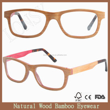 Italy Designed layered wooden optical reading frame glasses with veneer wood combine acetate temples LS2911-C2