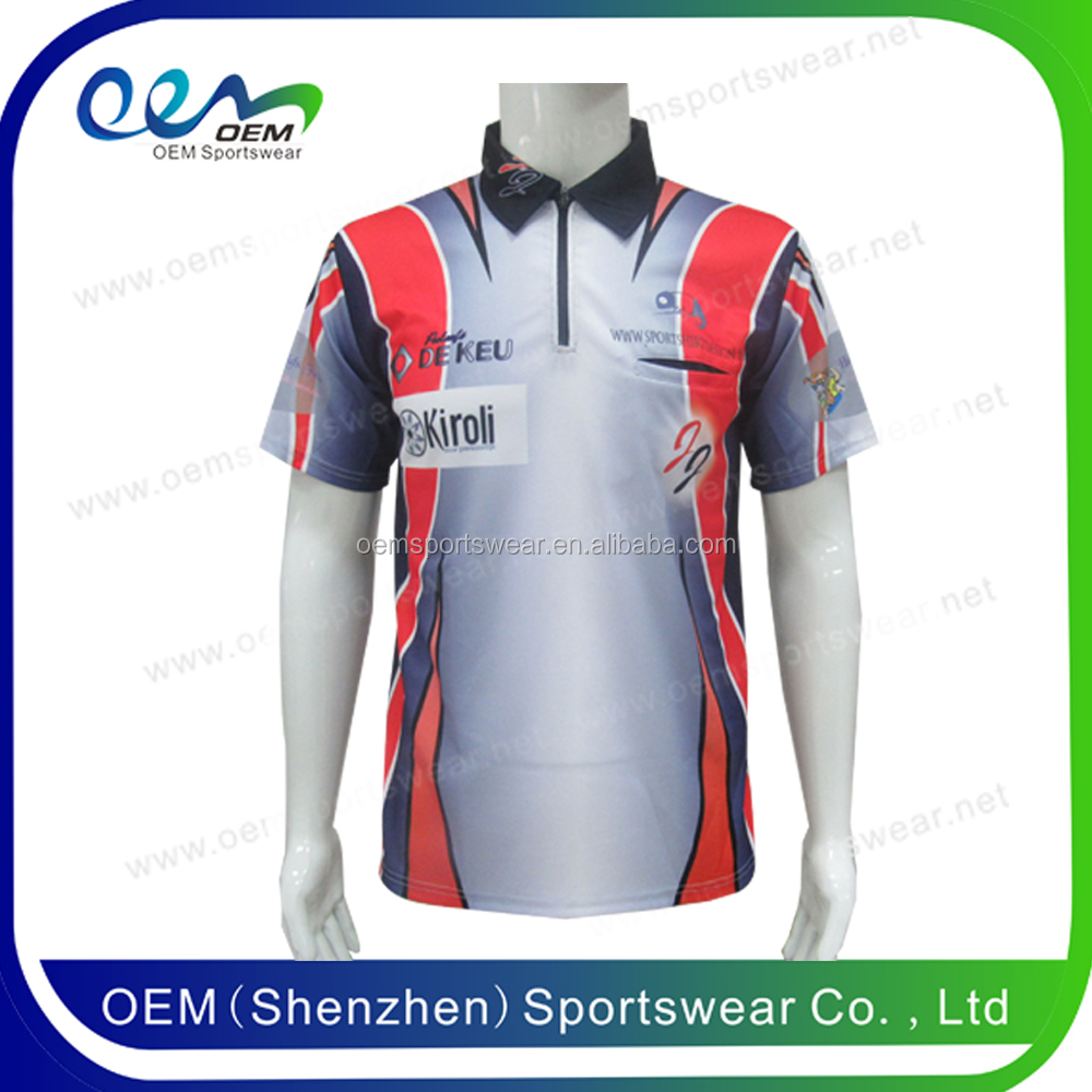 Wholesale sublimation print100 polyester zipper collar polo shirt factory