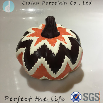 Wave designed ceramic pumpkin for home decoration