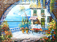 Dafen High Quality Handmade Canvas Beautiful Seaside Mediterranean Landscape Oil Painting