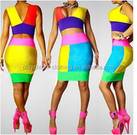 Fashion Rainbow Colorer Splicing Suits Women Dress