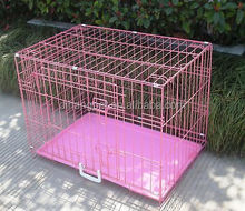 Pink Folding Dog Crate Cage Kennel ABS plastic