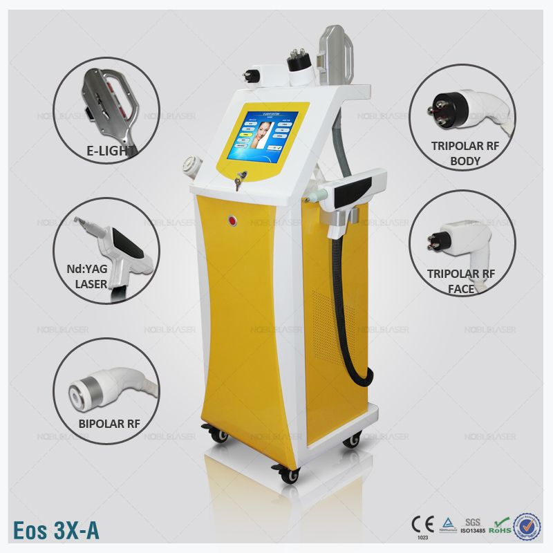 multifunctional IPL hair removal laser +nd yag tattoo removal laser+ rf needle wrinkle removal laser device