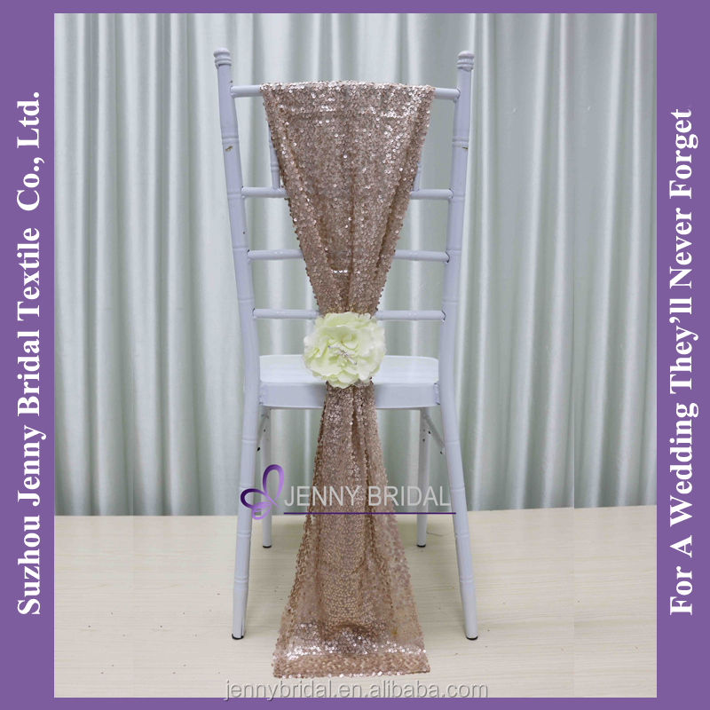 C385#20 matte champagne sequin fabric wedding chair sashes sequin chair cover chair sashes