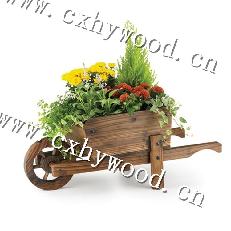 artesanas de madera estilo vintage ruedas cesta plantadores de madera