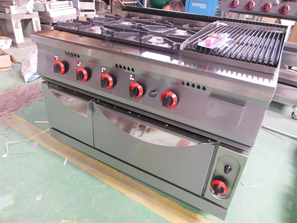 Hotel kitchen equipment commercial 4 burners gas range with lava rock grill and oven/multifunctional cooking range BN-G812