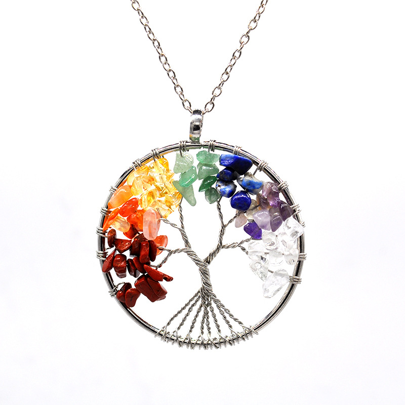 Tree of Life Pendant Amethyst Rose Crystal Necklace Gemstone Chakra <strong>Jewelry</strong>