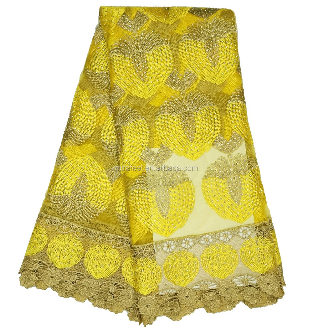 Yellow Fshion New Embroidery French 3d nylon heavy lace fabric