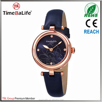 China New Product Custom LOGO 3ATM Rose gold dial Embossed flower drill Genuine leather Lady watch