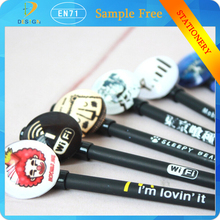 Yiwu china factory customized logo plastic cheap price 0.38mm black gel-ink Advertisement pen wholesale